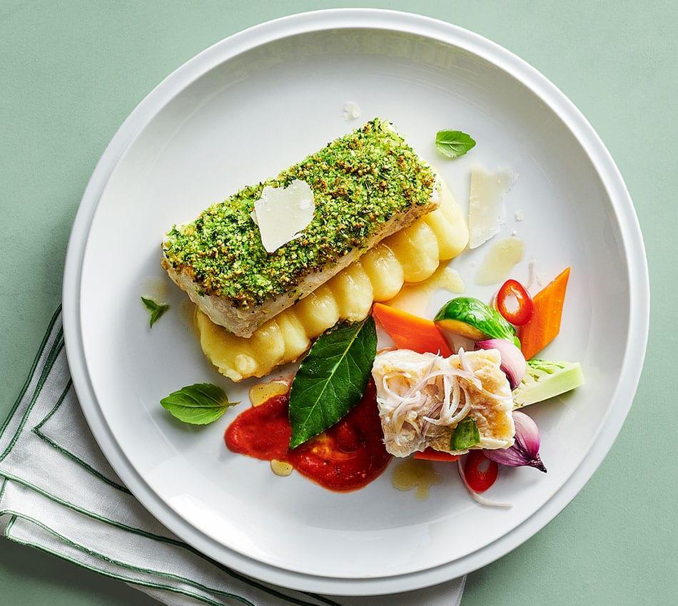 Herb-Crusted Cod Fillet and Lemon–Olive Oil Poached Salt Cod