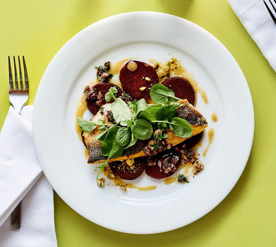 branzino with roasted beets