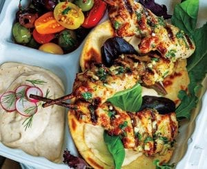 Lemon-Basil Chicken Skewers With White Bean Hummus and Olive-Tomato Salad