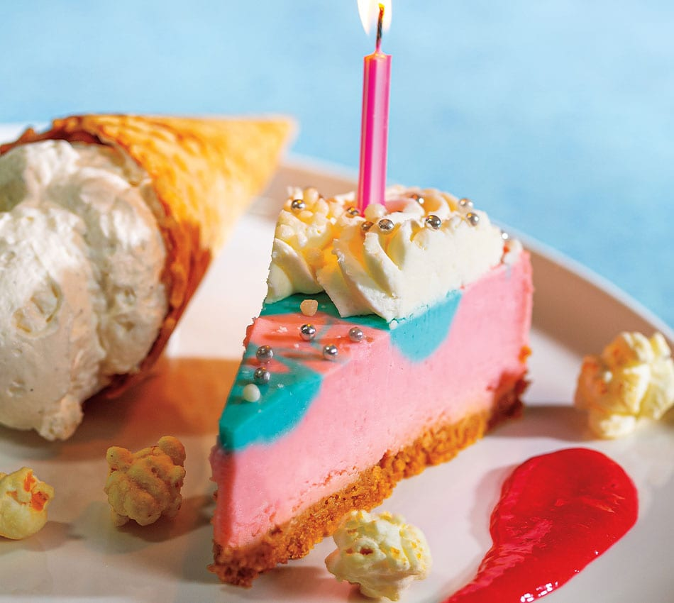 Quinceañera Cotton Candy Cheesecake with Raspberry Cream Coulis