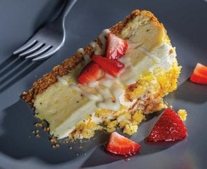 Lemon Poppy Seed Bread Cheesecake With Macerated Strawberries and Yogurt