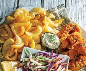 Buffalo-Spiced Fish and Twisted Chips