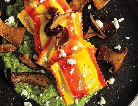 Goat Cheese and Lemon Ravioli With Crispy Wild Mushrooms and Walnut-Parsley Sauce