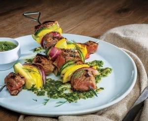 Sirloin Steak and Squash Skewers With Cilantro-Dill Chimichurri