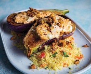 Feta-Stuffed Eggplant Over Red Pepper-Herb Couscous