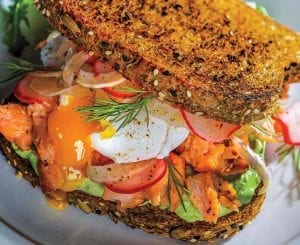 Smoked Salmon and Poached Egg Breakfast Sandwich