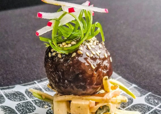 Plant based Korean bbq meatball with apple fennel slaw - Sysco Simply