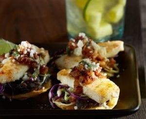 Alaska Halibut Tostada Bites With Pineapple Bacon Jam - Portico Seafood