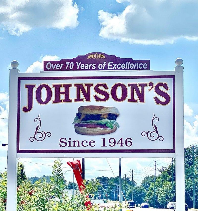 Johnson's Drive-In restaurant street sign